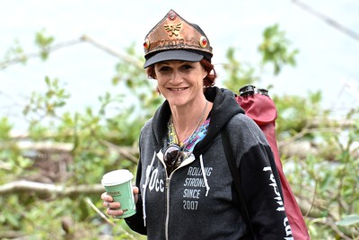 Her Royal Higness 2016 Rutabaga Queen PoiSin Candie of Confection (and Humboldt Roller Derby star) knows how to enjoy her second day after her year-long reign visiting the Frernbridge Eel River water crossing. (José Quezada—For Times-Standard)