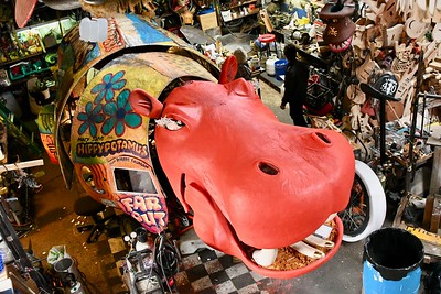 The Hippypotamus, designed and built by Robert Thoman and Ken Beidleman, sits in the Kinetic Sculpture Lab. José Quezada—For Times-Standard