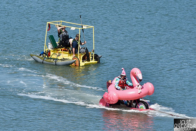 Yellow Brick Rode gets set to pass the Fledgling Flamingo being towed by a save boat. José Quezada—For Times-Standard