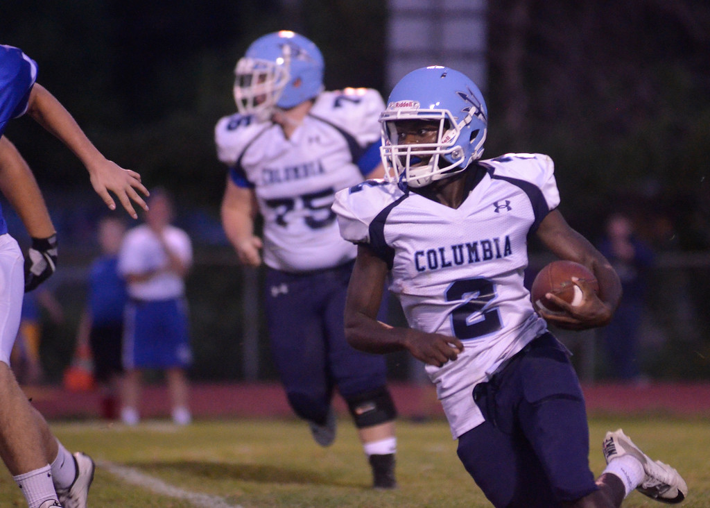 . James Costanzo - jcostanzo@digitalfirstmedia.com Columbia running back Qwann Francis carries the ball against Shaker at Shaker High School on Sept. 9, 2016