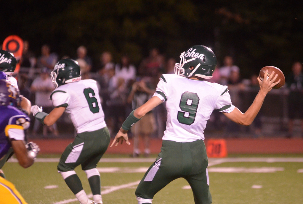 . James Costanzo - jcostanzo@digitalfirstmedia Shen quarterback Mike Spulnick drops back to pass in the 2016 season opener agaisnt Troy on Sept. 2, 2016.