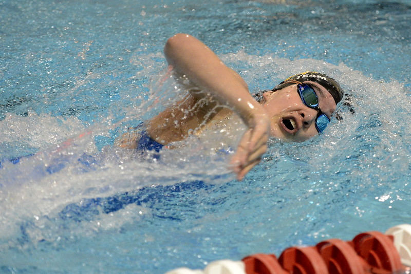 Thompson Valley's Jamie Dellwardt swims a leg of the 200-yard freestyle relay during the state swimming meet Saturday at the VMAC in Thornton. (Cris Tiller / Loveland Reporter-Herald)