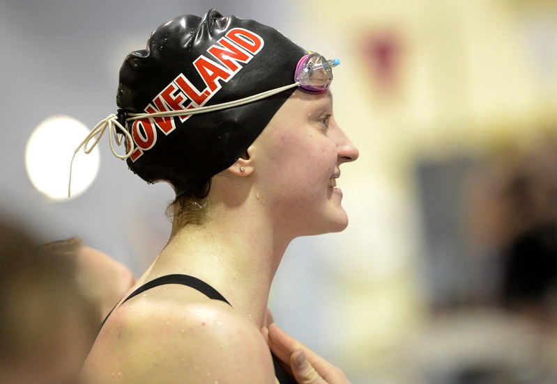 Loveland's Erin Lang smiles during the state swimming meet Saturday Feb. 10, 2018 at the VMAC in Thornton. Lang, a junior, won her second consecutive state title in the 500-yard freestyle. (Cris Tiller / Loveland Reporter-Herald)