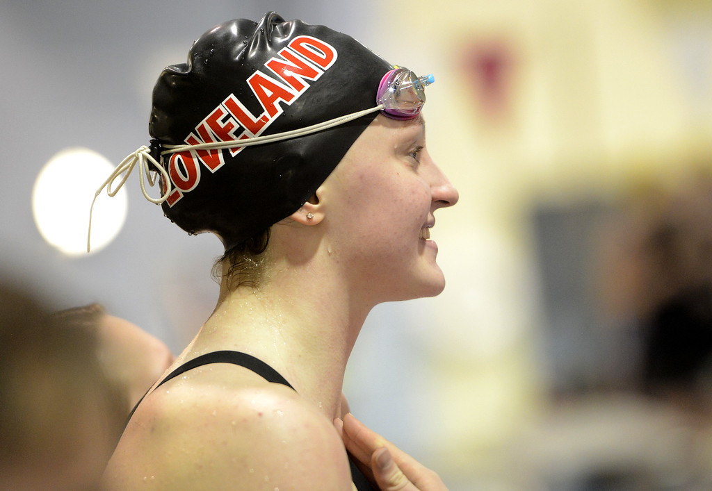 . Loveland\'s Erin Lang smiles during the state swimming meet Saturday Feb. 10, 2018 at the VMAC in Thornton. Lang, a junior, won her second consecutive state title in the 500-yard freestyle. (Cris Tiller / Loveland Reporter-Herald)