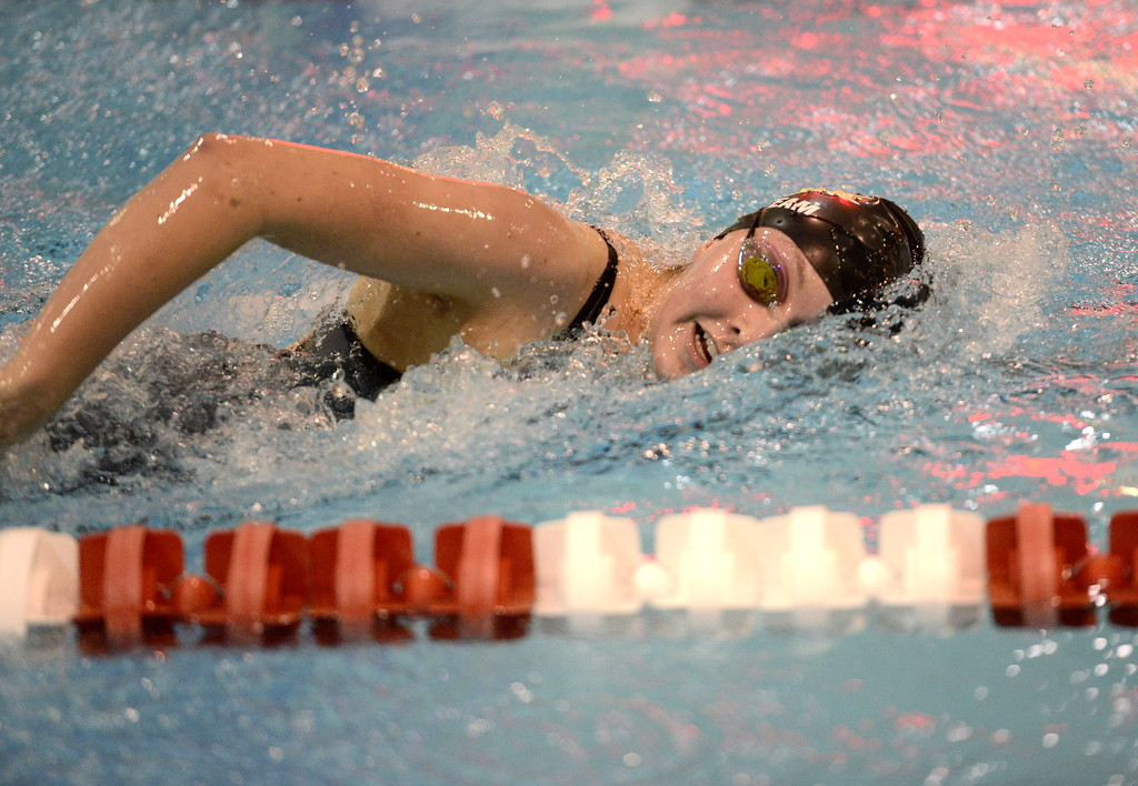 . Thompson Valley\'s Adley Morison swims the freestyle during a relay at the state swimming meet Saturday at the VMAC in Thornton. (Cris Tiller / Loveland Reporter-Herald)