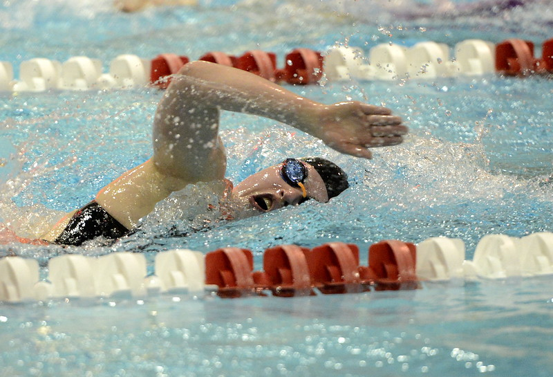 Thompson Valley's Emma McKalko swims a freestyle in a relay during the state swimming meet Saturday at the VMAC in Thornton. (Cris Tiller / Loveland Reporter-Herald)