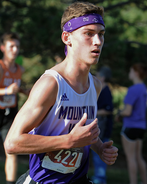 . Mountain View\'s Bradley Campbell runs at the Loveland Sweetheart Invitational on Friday, Sept. 21, 2018 at Loveland High School. (Sean Star/Loveland Reporter-Herald)