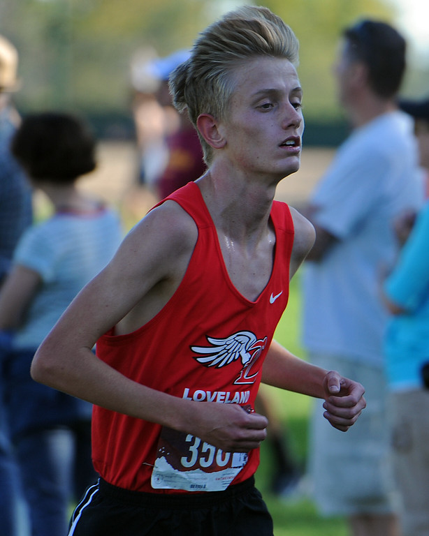 . Loveland\'s Lucas Westbrook runs at the Loveland Sweetheart Invitational on Friday, Sept. 21, 2018 at Loveland High School. (Sean Star/Loveland Reporter-Herald)