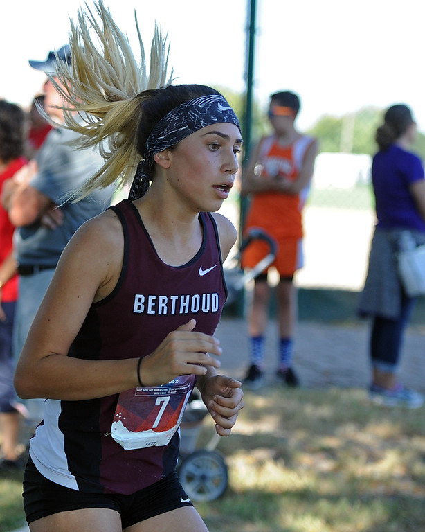 . Berthoud\'s Ally Padilla runs at the Loveland Sweetheart Invitational on Friday, Sept. 21, 2018 at Loveland High School. (Sean Star/Loveland Reporter-Herald)