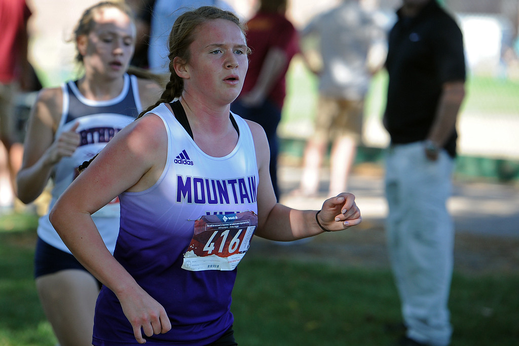 . Mountain View\'s Taylor Petty runs at the Loveland Sweetheart Invitational on Friday, Sept. 21, 2018 at Loveland High School. (Sean Star/Loveland Reporter-Herald)