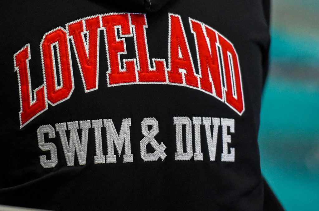 . Loveland swimming jackets are worn during the City Swim Meet on Wednesday April 11, 2018 at the MVAC. (Cris Tiller / Loveland Reporter-Herald)