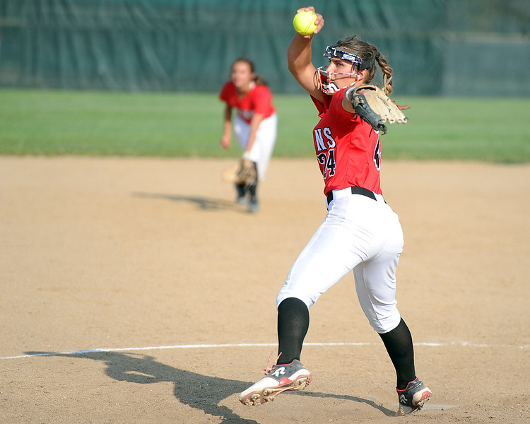 Loveland's Laurin Krings delivers a pitch during Loveland's softball game against Berthoud on Thursday, Aug. 23, 2018 at Centennial Park in Loveland, Colorado. (Sean Star/Loveland Reporter-Herald)