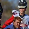 Loveland catcher AJ Cortese smirks while wearing his helmet funny against Monarch on Thursday April 26, 2018 at Swift Field. (Cris Tiller / Loveland Reporter-Herald)
