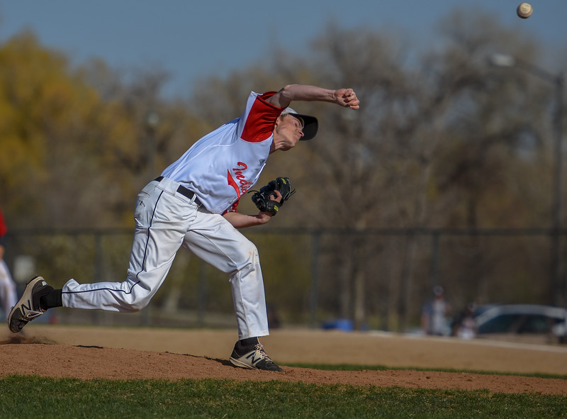 Loveland pitcher Matt Weichel comes in for a relief appearance against Monarch on Thursday April 26, 2018 at Swift Field. (Cris Tiller / Loveland Reporter-Herald)