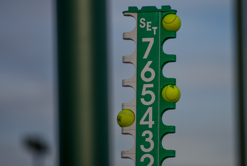 The score tower displays during a match between Loveland and Thompson Valley on Thursday March 8, 2018 at North Lake Park. (Cris Tiller / Loveland Reporter-Herald)