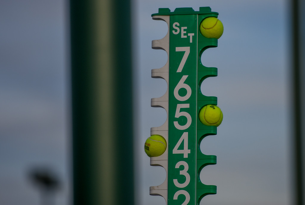 . The score tower displays during a match between Loveland and Thompson Valley on Thursday March 8, 2018 at North Lake Park. (Cris Tiller / Loveland Reporter-Herald)