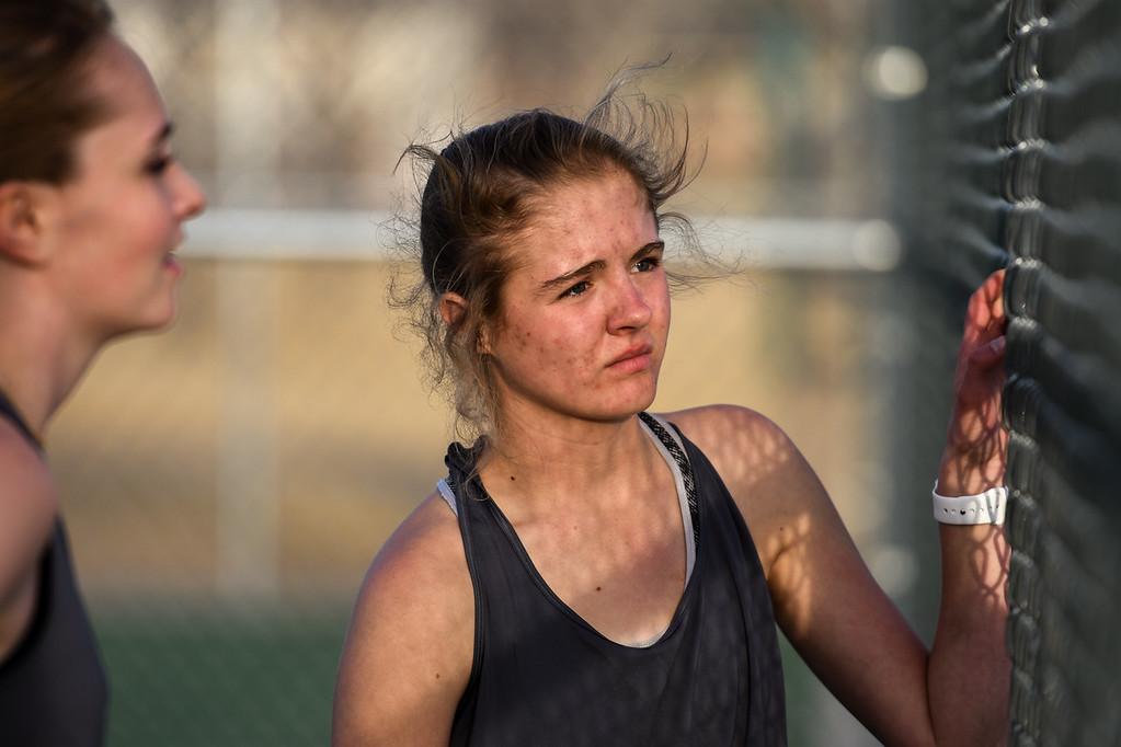 . Thompson Valley\'s Emily Black listens to her coach on Thursday March 8, 2018 at North Lake Park. (Cris Tiller / Loveland Reporter-Herald)