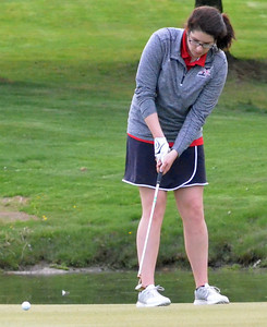 KYLE MENNIG - ONEIDA DAILY DISPATCH  Vernon-Verona-Sherrill's Sara McCall putts on the ninth green during a match against Rome Free Academy in Rome on Tuesday, May 3, 2016.