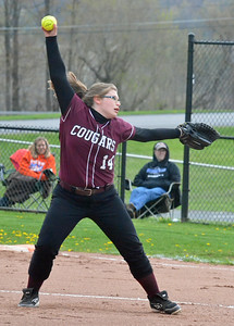 KYLE MENNIG - ONEIDA DAILY DISPATCH Stockbridge Valley's Alaina Beane delivers a pitch to a Brookfield batter in their game in Munnsville on Wednesday, May 4, 2016.
