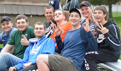 KYLE MENNIG - ONEIDA DAILY DISPATCH Stockbridge Valley students react during the softball team's 12-run sixth inning against Brookfield on Wednesday, May 4, 2016.