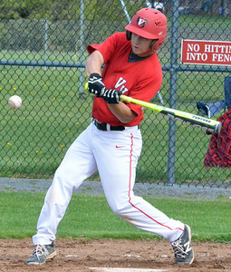 KYLE MENNIG - ONEIDA DAILY DISPATCH  Vernon-Verona-Sherrill's Ryan Palmer swings at a pitch during a game against Holland Patent in Rome on Tuesday, May 3, 2016.