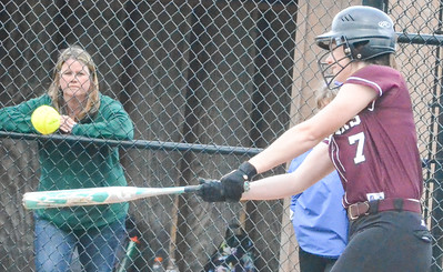 KYLE MENNIG - ONEIDA DAILY DISPATCH  Stockbridge Valley's Olivia Marshall connects for a first-inning single against Brookfield during their game in Munnsville on Wednesday, May 4, 2016.