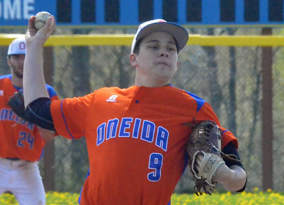 KYLE MENNIG - ONEIDA DAILY DISPATCH    Oneida's Casey Rich delivers a pitch to a Cazenovia batter during their game in Cazenovia on Saturday, May 7, 2016.