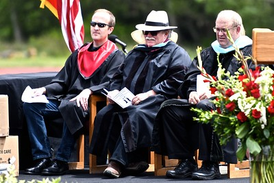 Northern Humboldt Union High School District trustees Brian Gerving and Brian Lovell sit with retiring Superintendent Kenny Richards, far right. (José Quezada—For the Times-Standard)