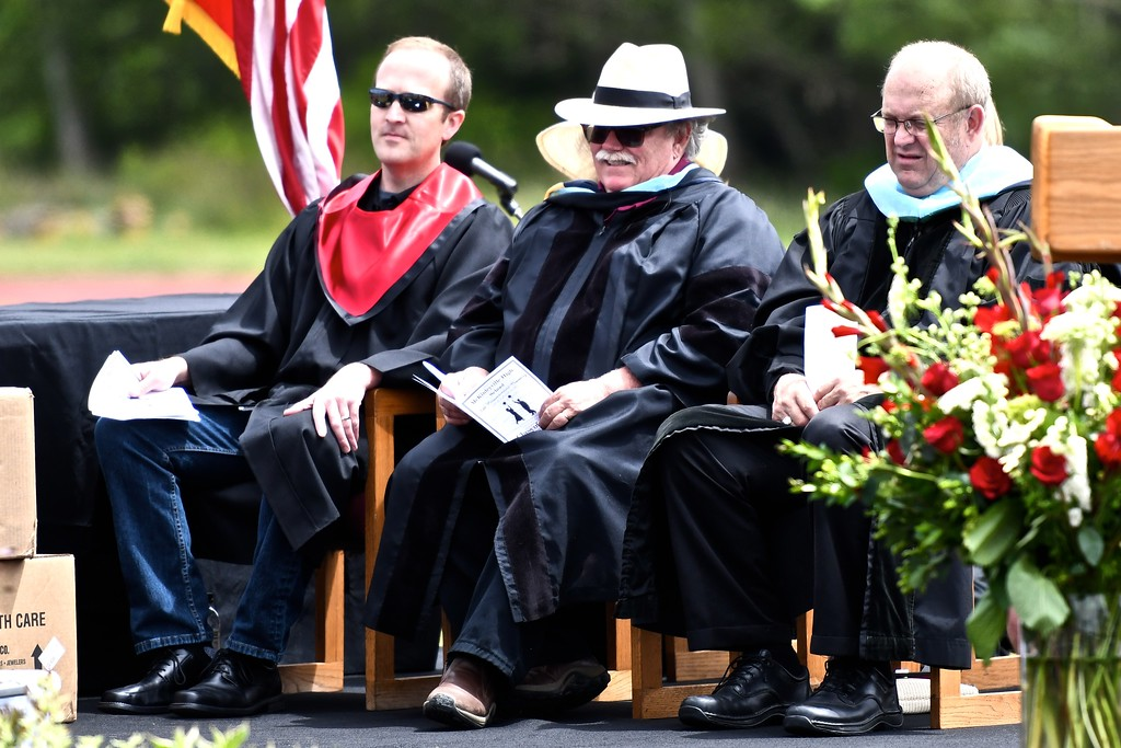 . Northern Humboldt Union High School District trustees Brian Gerving and Brian Lovell sit with retiring Superintendent Kenny Richards, far right. (José Quezada�For the Times-Standard)