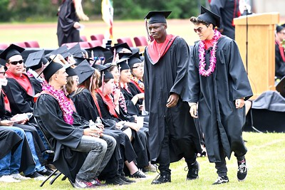 A walk to their seats before receiving their diplomas from McKinleyville High School. (José Quezada—For the Times-Standard)