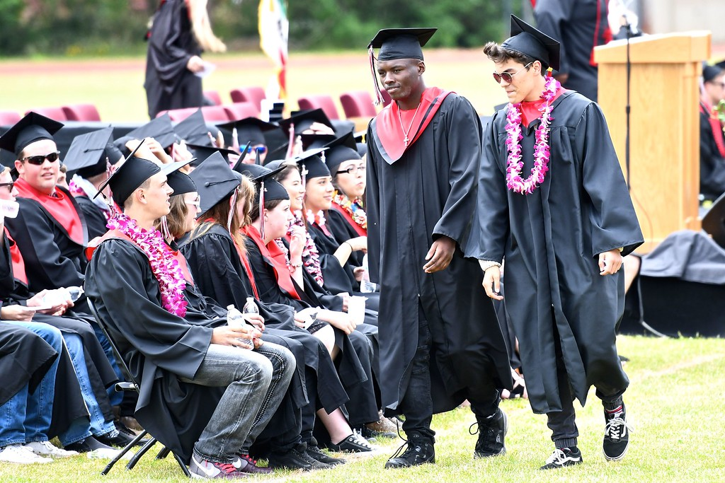 . A walk to their seats before receiving their diplomas from McKinleyville High School. (José Quezada�For the Times-Standard)