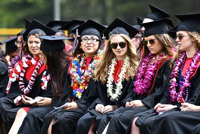 Earnest faces filled the rows of McKinleyville High School seniors set to graduate in minutes. (José Quezada—For the Times-Standard)