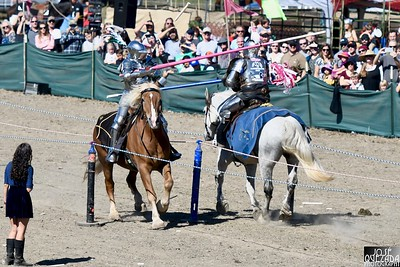 A jousting lance glances off the knight in armor at the right. José Quezada—For Times-Standard