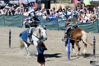 """The Sunday noon joust started with a """"trot-by"""" square up before the joust began. José Quezada—For Times-Standard"""