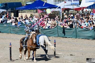 Joust lances splinter as the Knights of Mayhem joust. José Quezada—For Times-Standard