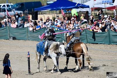 The crowd gasps as they watch both Knights of Mayhem keep their balance as balsa joust lance tips fly high. José Quezada—For Times-Standard