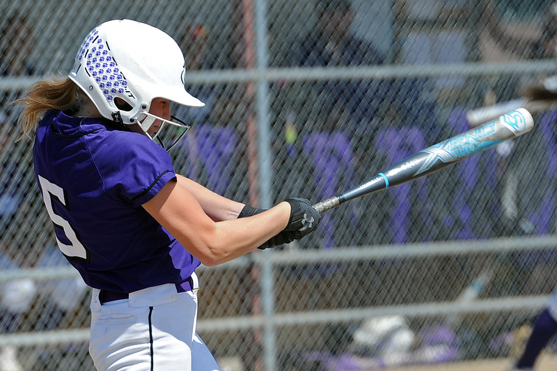 Mountain View's Harley Duke takes a swing during a game Saturday, Sept. 8, 2018 at Mountain View High School in Loveland. (Sean Star/Loveland Reporter-Herald)
