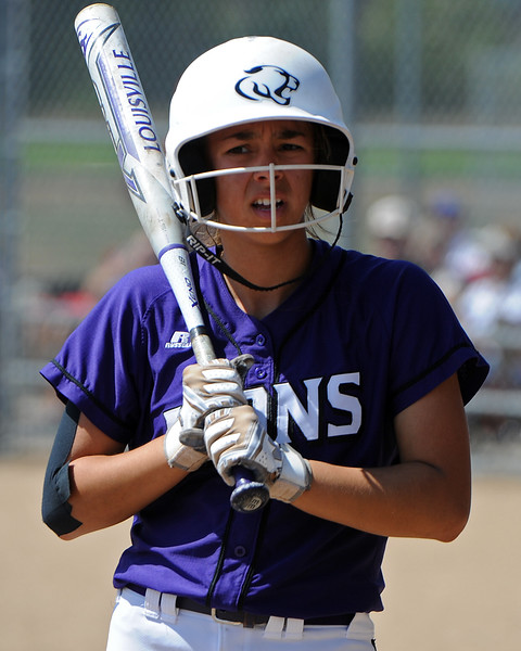 Mountain View's Nya Chacon waits on the on-deck circle during a game Saturday, Sept. 8, 2018 at Mountain View High School in Loveland. (Sean Star/Loveland Reporter-Herald)