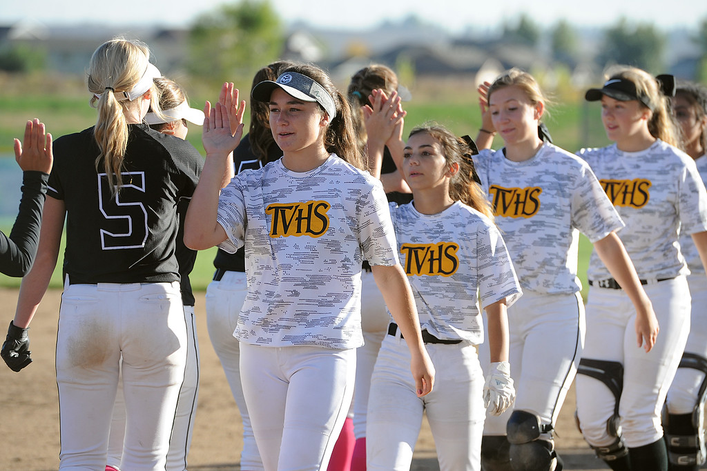 . Players from Thompson Valley and Mountain View shake hands after their game Thursday, Oct. 4, 2018 at Mountain View High School. (Sean Star/Loveland Reporter-Herald)