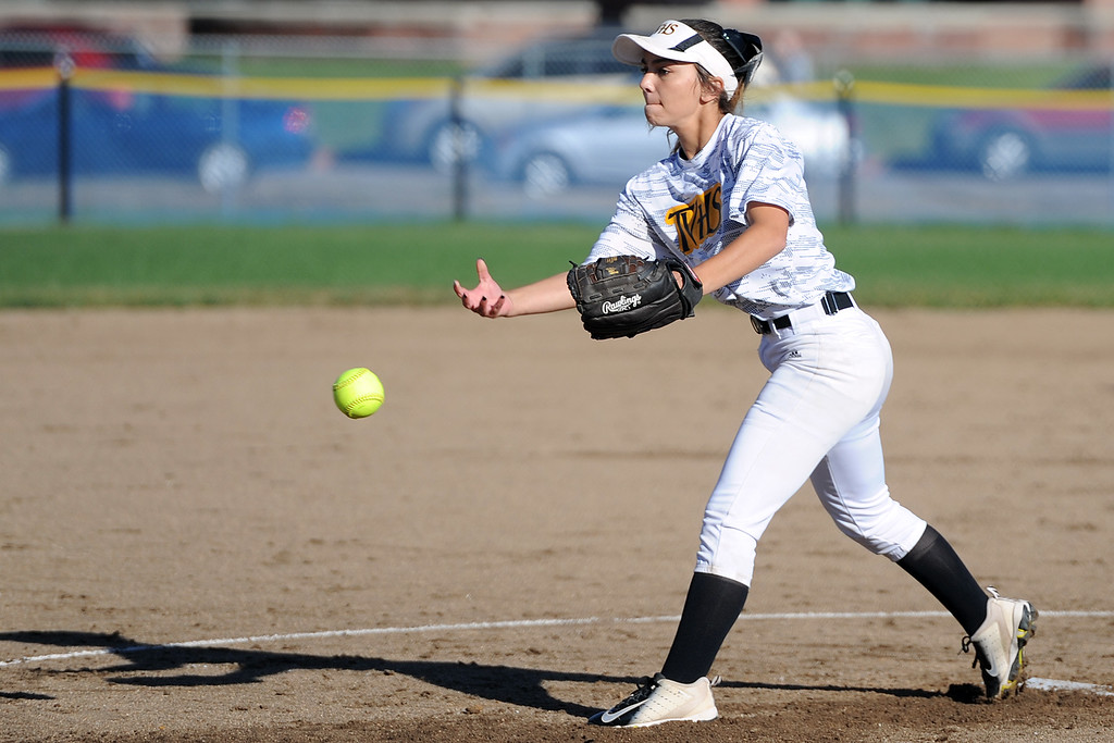 . Thompson Valley\'s Elizabeth Texeira delivers a pitch during a game Thursday, Oct. 4, 2018 at Mountain View High School. (Sean Star/Loveland Reporter-Herald)