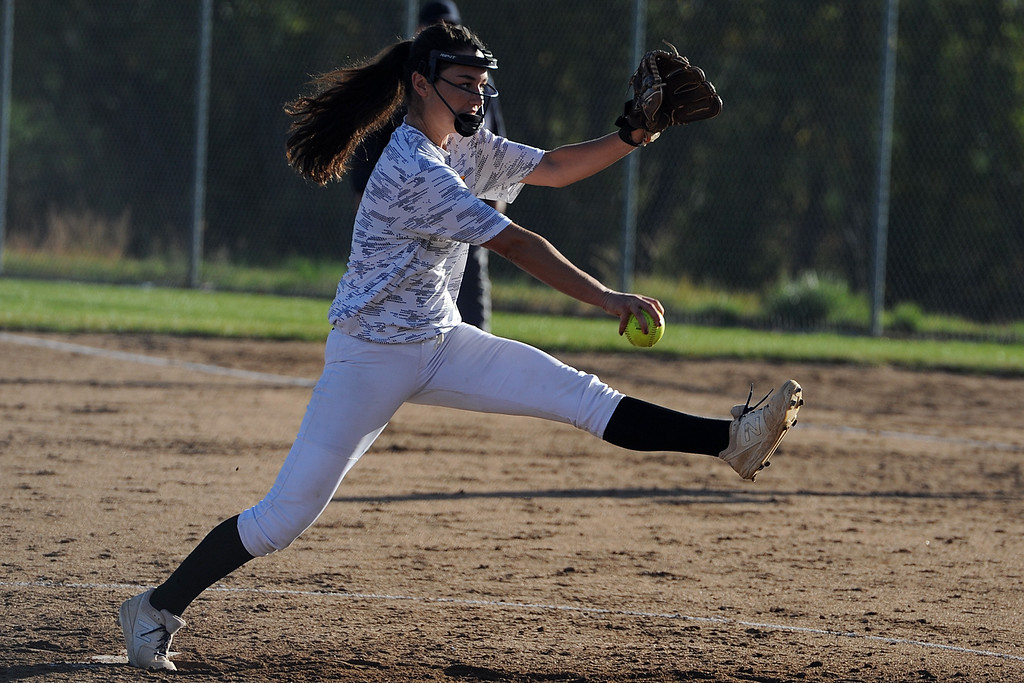 . Thompson Valley\'s Makenna McVay delivers a pitch during a game Thursday, Oct. 4, 2018 at Mountain View High School. (Sean Star/Loveland Reporter-Herald)