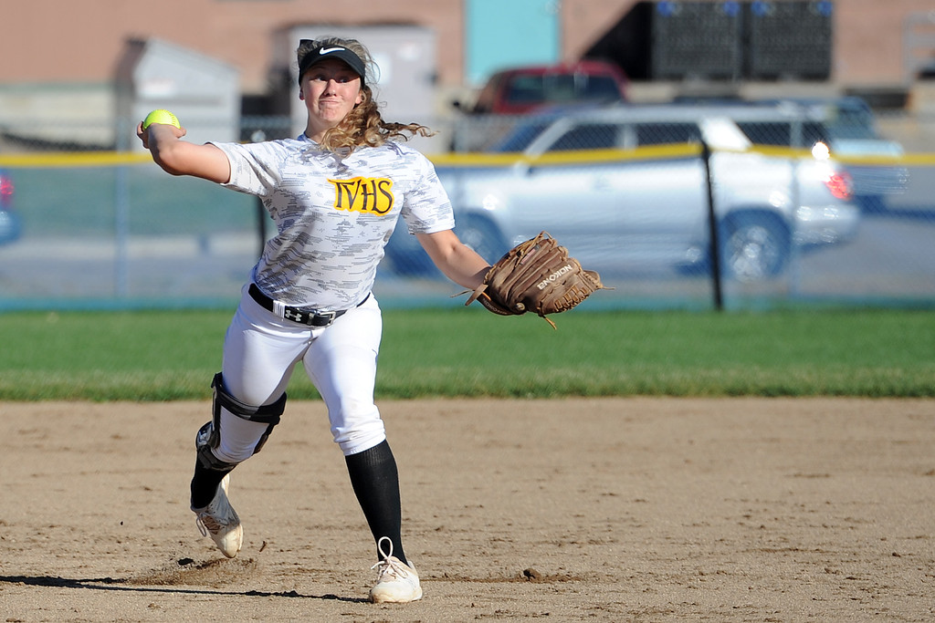 . Thompson Valley shortstop Grace Hendrickson throws to first during a game Thursday, Oct. 4, 2018 at Mountain View High School. (Sean Star/Loveland Reporter-Herald)