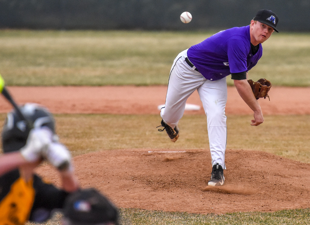 . Mountain View pitcher Braden Barker delivers a strike against Thompson Valley on Thursday April 5, 2018 at Brock Field. (Cris Tiller / Loveland Reporter-Herald)