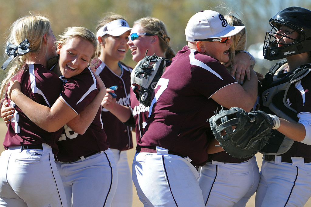. Berthoud celebrates its comeback victory over Pueblo West during the first day of the 4A state softball tournament on Friday, Oct. 19, 2018 at Aurora Sports Park. (Sean Star/Loveland Reporter-Herald)