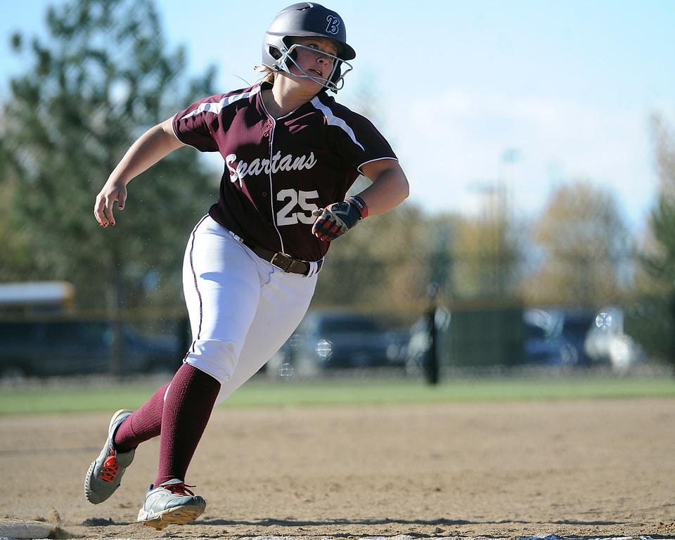 . Berthoud\'s Sarah Jorissen rounds third during the first day of the 4A state softball tournament on Friday, Oct. 19, 2018 at Aurora Sports Park. (Sean Star/Loveland Reporter-Herald)