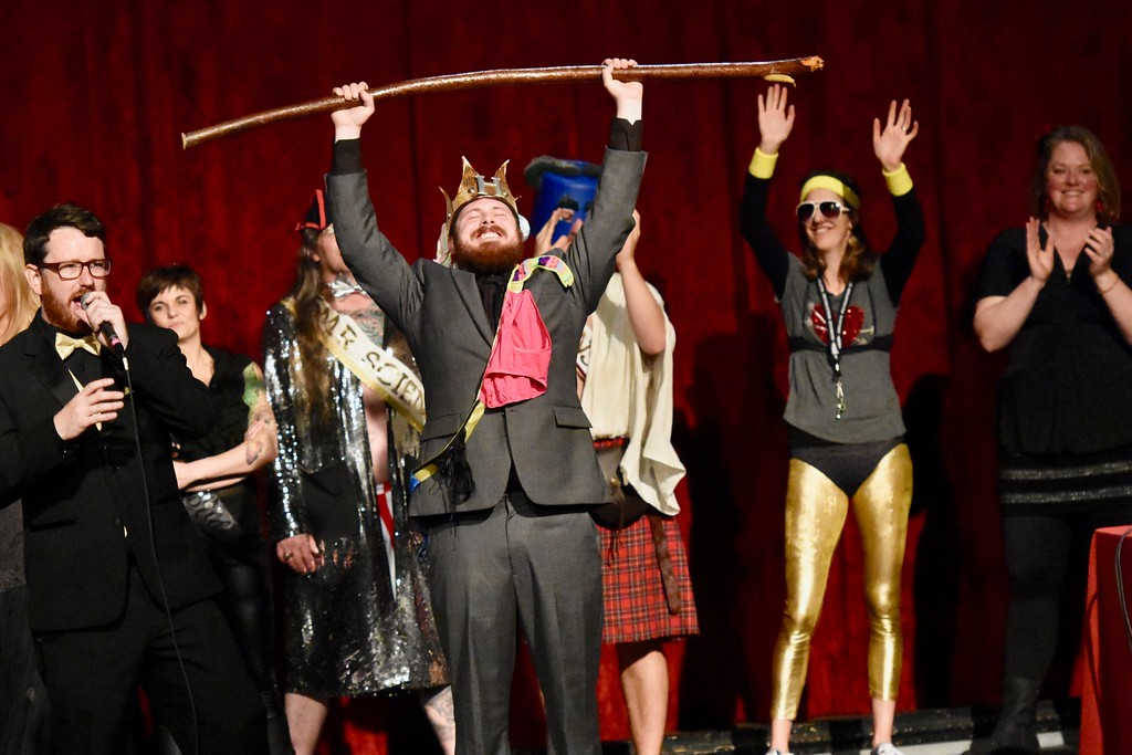 . Mr. Humboldt 2018 holds up his staff. José Quezada�For Times-Standard