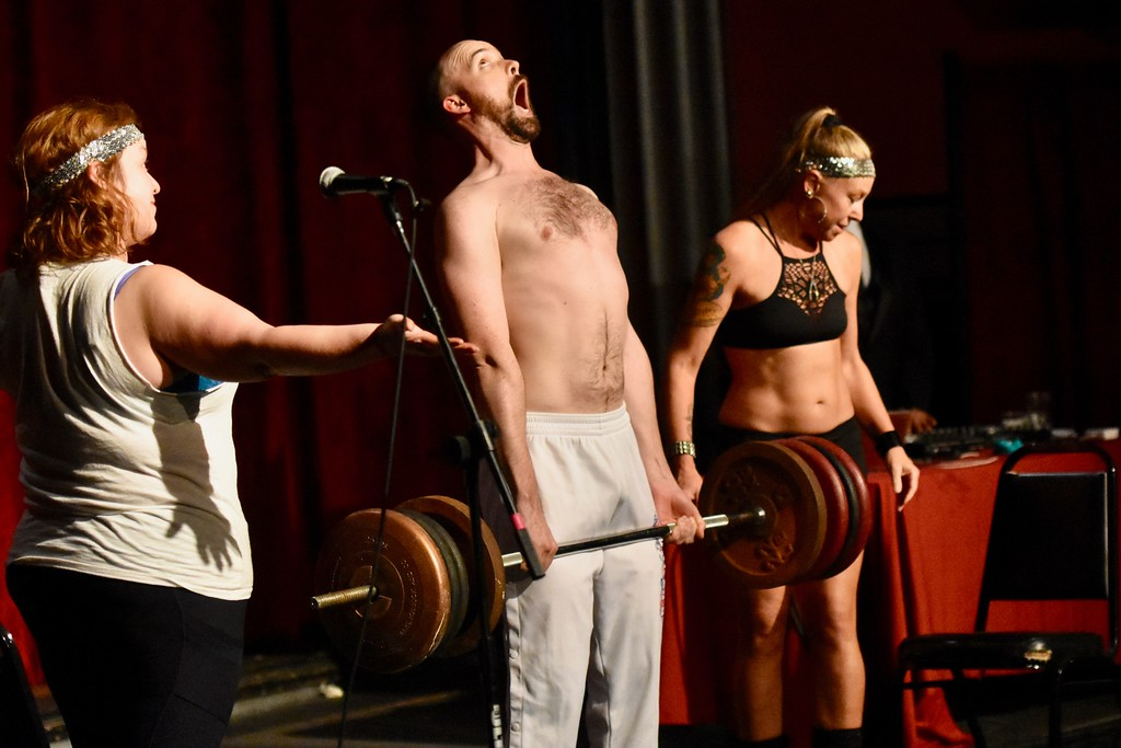 . First runner-up Mr. Fashion lifting weights in the talent portion of program. José Quezada�For Times-Standard