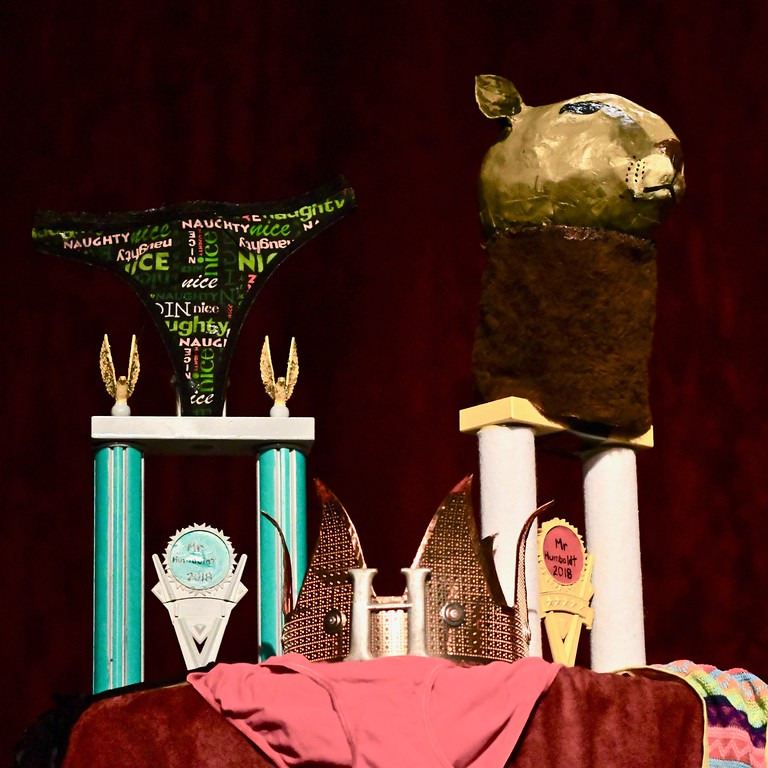 . Mr. Humboldt Congeniality trophy stands next to the Mr. Humboldt Crown and Mr. Humboldt 2018 trophy. José Quezada�For Times-Standard