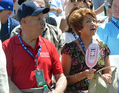 KYLE MENNIG - ONEIDA DAILY DISPATCH Mike Piazza's father, Vince, and mother, Veronica, wait for the start of the National Baseball Hall of Fame Induction Ceremony in Cooperstown on Sunday, July 24, 2016.