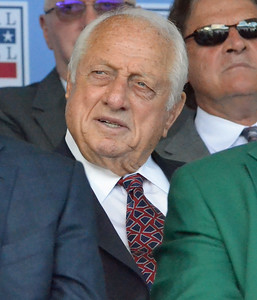 KYLE MENNIG - ONEIDA DAILY DISPATCH Tommy Lasorda listens to Mike Piazza's speech at the National Baseball Hall of Fame Induction Ceremony in Cooperstown on Sunday, July 24, 2016.